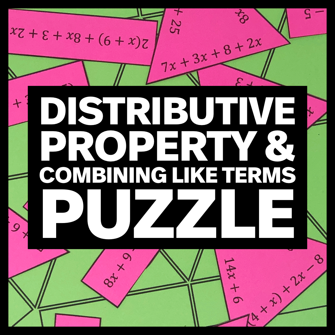 My Math Resources Distributive Property Combining Like Terms Puzzle